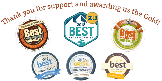 Thank you for support and awarding us the gold! Statesman Journal Best of the Mid-Valley - 2017 Gold Winner, 2016 Gold Winner, 2015 Gold Winner, 2014 Gold Winner, 2013 Silver Medal - Dentist Salem OR